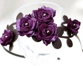 Purple flower headband leather amethyst gardenias green leaves bridal hairband woodland wedding hair accessory