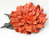 Orange leather flower brooch dahlia moss green leaves and beaded center 3 year anniversary gift prom wearable art