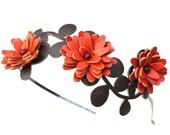 Orange flower headband leather daisy green leaves bridal hairband woodland wedding hair accessory