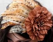 Brown feather fascinator rust leather flower headband with beaded center woodland wedding hairpiece Victorian steampunk hairband  Halloween
