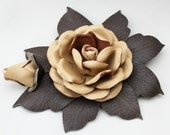 Leather flower pin, champagne yellow rose with moss green leaves woodland wedding corsage decoration floral brooch 3 year anniversary gift