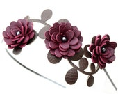 Burgundy flower headband leather mums fall woodland wedding hair accessory prom wearable art
