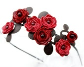 Red flower headband leather roses green leaves on metal hairband, floral bridal tiara woodland wedding crown 3 year anniversary gift