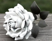 Long Stem White Leather Rose third Anniversary wedding gift Long Stem leather flower Valentine's Day 3rd Leather Anniversary