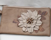 Leather wristlet, tan flower ivory leaves leaves with glass beaded center