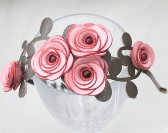 Flower headband pink leather roses green leaves bridal hairband woodland wedding tiara prom wearable art