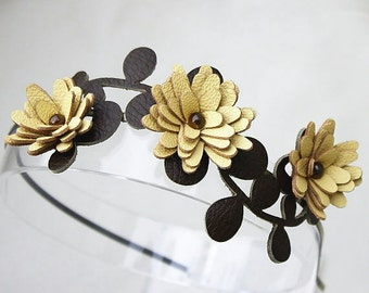 Yellow flower headband leather lemon daisies green leaves floral wedding tiara woodland wedding hair accessory prom wearable art
