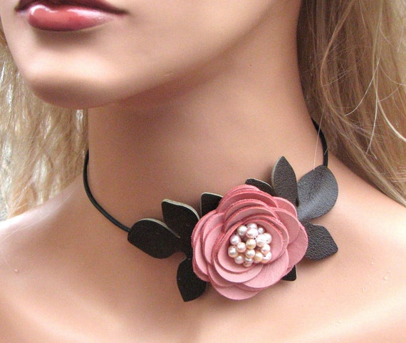 Flower necklace leather necklace choker pink roses leather jewelry mixed media jewelry wedding accessories prom wearable art