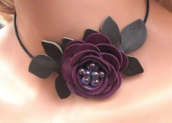 Flower leather choker necklace  amethyst purple rose green leaves beaded center on black leather cord 3 year anniversary gift
