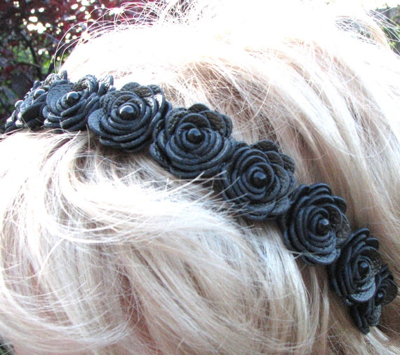 Black flower headband leather roses tiara woodland wedding 3 year anniversary gift