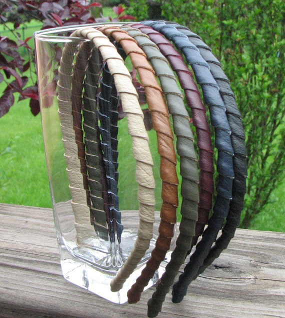 Leather wrapped metal headband, red, green, blue, orange, brown, cream, taupe, pink, purple, burgundy