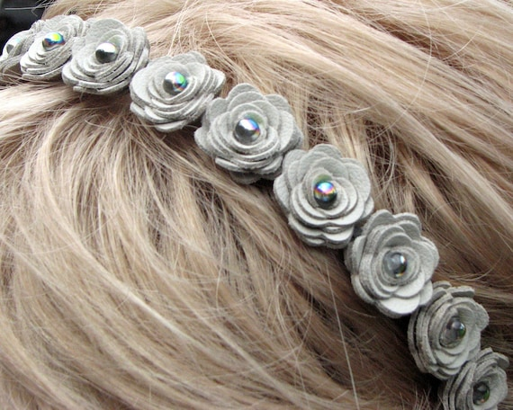 Flower leather headband, gray roses on silver metal hairband with rainbow bead centers woodland wedding 3 year anniversary gift
