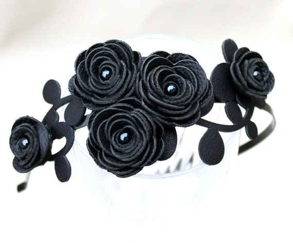 Bridal headband black headband flower headband leather rose Gothic wedding hairband floral hair accessory prom wearable art