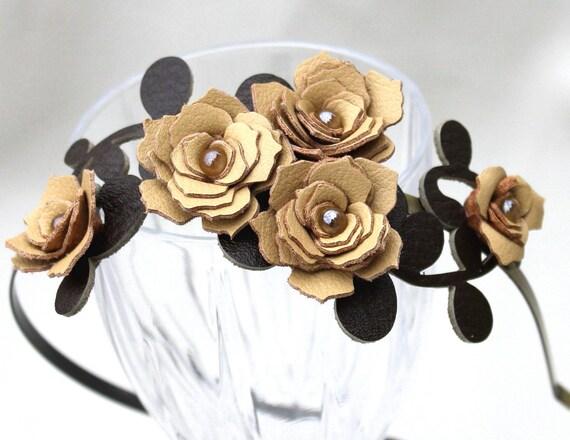 Yellow flower headband leather champagne gardenias green leaves bridal hairband woodland wedding hair accessory prom wearable art