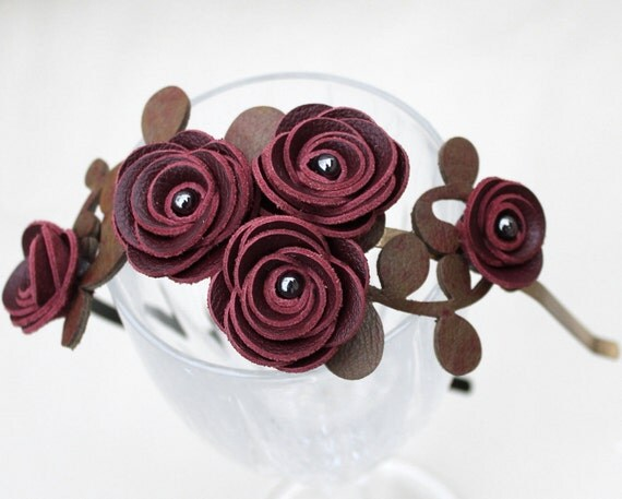 Burgundy flower headband leather wine roses, green leaves bridal hairband floral woodland wedding tiara prom wearable art
