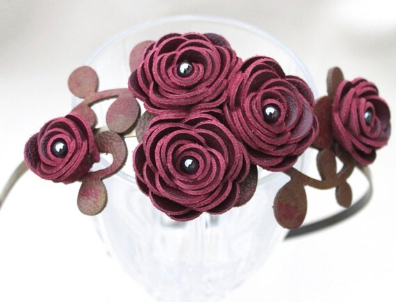 Wine flower headband leather wine ranunculus, green-burgundy leaves on metal hairband, floral wedding tiara woodland wedding hair accessory