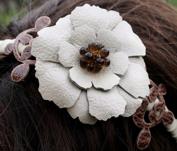 Floral Leather Headband With Ivory Flower, Brown Leaves and Beaded Center, Prom 3 year anniversary gift prom wearable art
