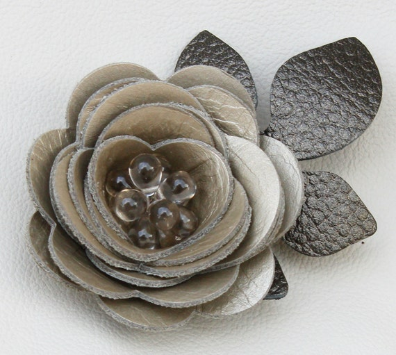 Taupe flower hair clip fascinator, leather rose, black leaves, beaded center 3 year anniversary gift prom wearable art