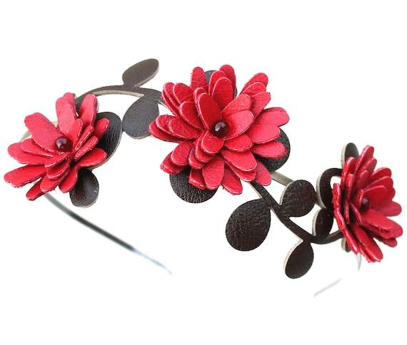 Flower headband red headband leather headband wedding headband floral headband leather rose mixed media bridal hair accessory