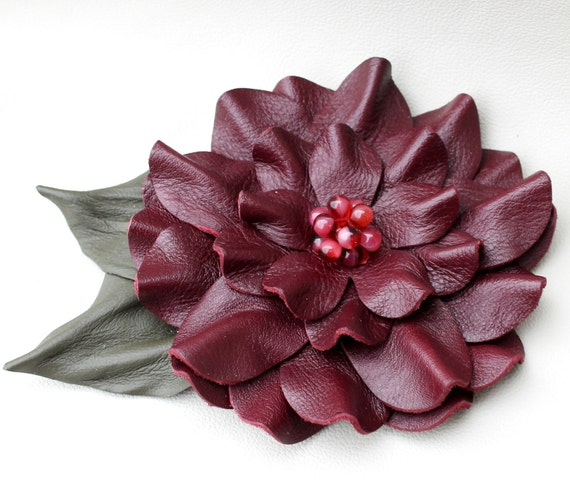 Burgundy leather flower pin leather brooch dahlia moss green leaves and beaded center 3 year anniversary gift