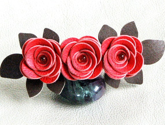 Flower barrette red leather roses green leaves bridal hairpiece wedding fascinator