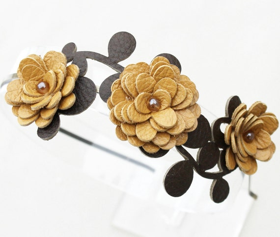 Yellow flower headband leather headband floral headband bridal tiara woodland wedding hair accessory prom wearable art