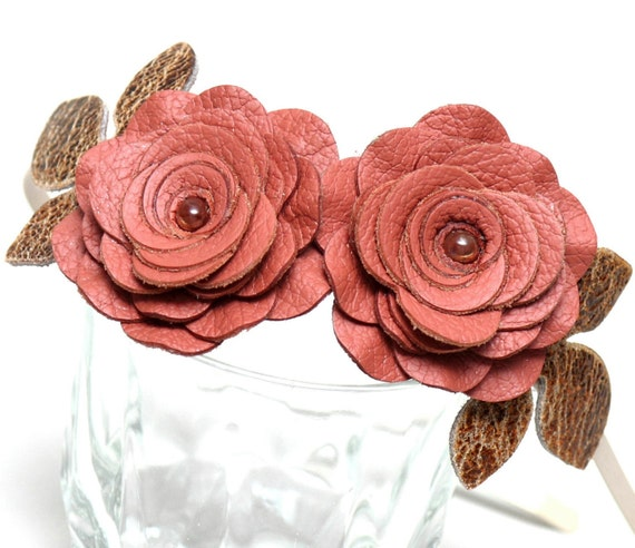 Pink flower headband fascinator leather roses brown leaves woodland wedding bridal hairpiece prom wearable art
