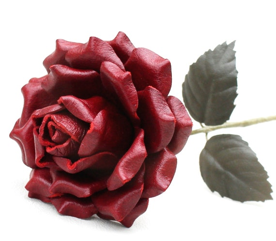 Crimson Red Leather Rose Large, Wedding/ 3rd Anniversary Gift Long Stem Flower Valentine's Day 3rd Leather Anniversary