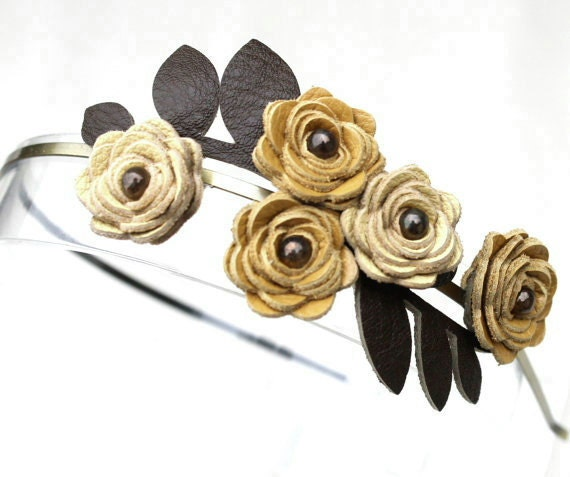 Leather flower headband, lemon and mustard yellow roses,moss green leaves hairband, flower tiara woodland wedding