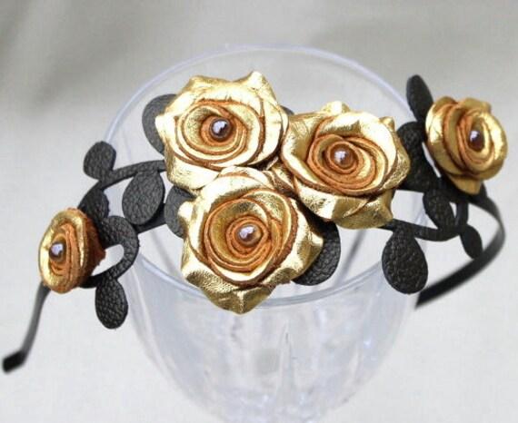 Leather flower headband, metallic gold roses black leaves on metal hairband, floral wedding tiara woodland wedding prom wearable art