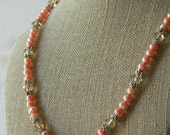 SALE salmon pink fresh water pearl faceted glass necklace and earrings