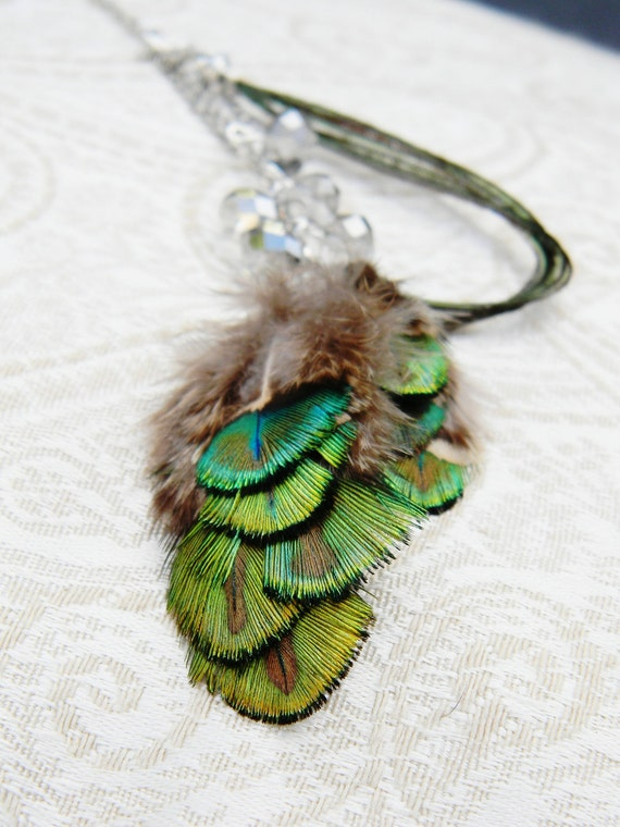 RESERVED green peacock feather and faceted glass necklace