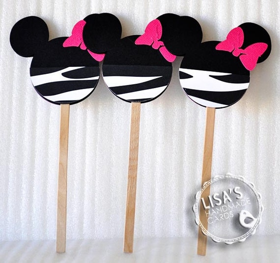 Custom Zebra Print and Hot Pink Minnie Mouse Cupcake Toppers, Handmade by Lisa