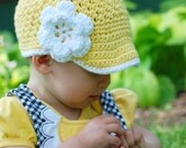 Cotton Newsboy Hat for Girls - Yellow with White Flower and Trim - available in Four Sizes