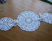 Crocheted  3 Lace together  White and Tan