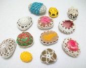 Spring colors crochet stones,wedding gift,home decor,tabledecor