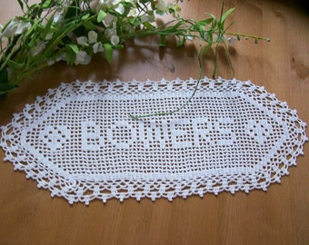 Crochet Name Doily , Personalized Crochet , Wedding Memento , Anniversary Gift , Wedding Gift Ideas , Marriage Gift