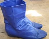 Vintage 1980's Electric Blue Leather Ankle Boots Size 7 38