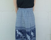 Vintage 1970s Skirt High Waisted Blue and White with Animal Border XS SALE
