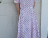 1960s Dress / White and Pink Spotted Sundress XS S