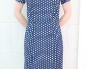 1960s Dress Blue and White Spot Wiggle Dress Custom Made XS ON SALE