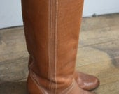 Vintage 1970s Tan Leather Boots.