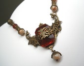 OOAK dramatic vintage style red and brass pendant necklace