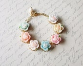 LAST ONE - Blushing - Pastel Flower Charm Bracelet Blue Pink Peach Green White Yellow Cute Adorable Elegant Romantic Whimsical Whimsy Dreamy
