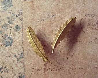 Feather Barrettes Gold Bridal Hair Clips Bohemian Beauty And The Beast Belle Accessories Rustic Wedding Emma Watson Womens Gift For Her