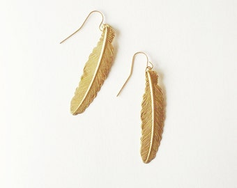 Gold Feather Earrings Boho Jewelry Bohemian Long Charm Free Spirit Tribal Accessories Festival Woodland Nature Lover Womens Gift For Her