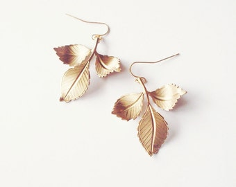 Gold Leaf Earrings Bridal Jewelry Bridesmaid Botanical Charm Vintage Style Rustic Woodland Wedding Accessories Womens Gift For Her Spring