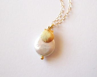 Coin Pearl Necklace Gold Shell Jewelry Seashell Charm Nautical Pendant Mermaid Bride Bridal Bridesmaid Beach Wedding Accessories Summer Gift