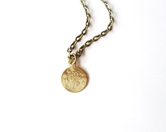 Gypsy Coin Necklace Small Gold Jewelry Tiny Charm Boho Pendant Bohemian Accessories Layering Layered Minimalist Minimal Womens Gift For Her