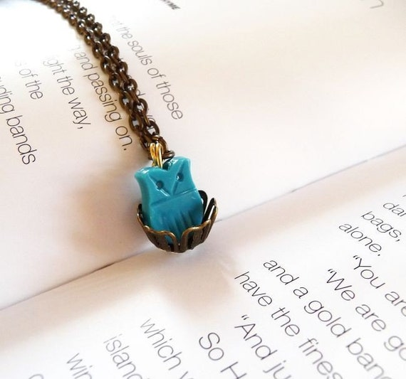 50% OFF SALE - Wonderland's Nesting Owl Charm Necklace - Turquoise Teal Aqua Blue Bird Nest - Cute - Adorable - Whimsical - Whimsy - Hipster